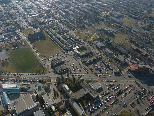 Aerial Shots of North to NAIT LRT Route - 104 Street/ Royal Alexandra Hospital crossing