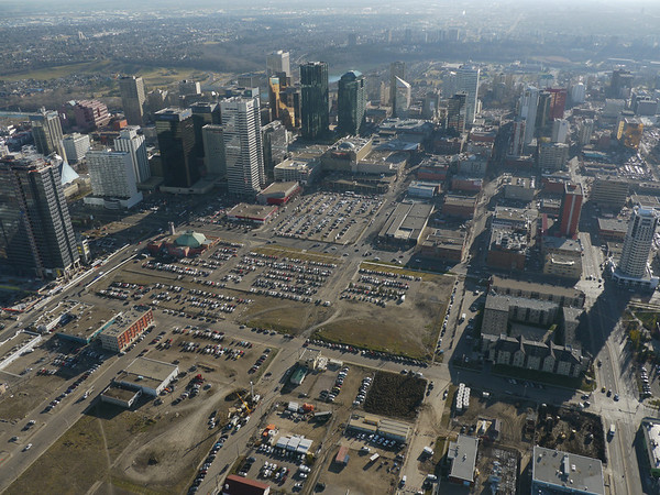 Aerial Shots of North to NAIT LRT Route - 105 Avenue