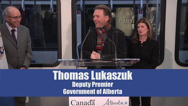 Thomas Lukaszuk, Deputy Premier Government of Alberta<br /> <br /> North LRT Tunnel Breakthrough Event, November 16, 2012