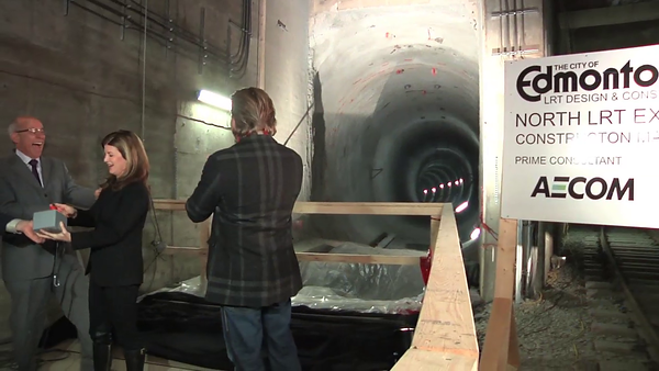 Curtain Lowering<br /> <br /> North LRT Tunnel Breakthrough Event, November 16, 2012