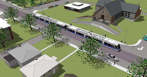Strathern LRT Crossing Computer Rendering