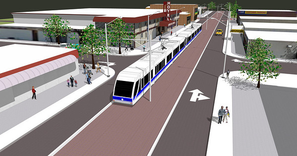 Stony Plain LRT Crossing Computer Rendering
