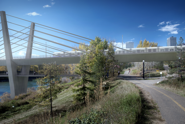 A view of the upcoming river bridge, taken from path-level at Louise McKinney Park. Developments in this area during the Valley Line project will ultimately lead to greater integration in Edmonton's River Valley Parks and Trails system.