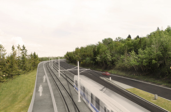 A rendering of the future LRT heading up the side of Connors Hill. The shared use path on the left will maintain convenient access to the River Valley and its views for cyclists and pedestrians.