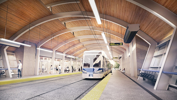 Interior rendering of new Wagner station. Note the convenient access that low floor LRT provides and the clear, open sightlines of the station interior.