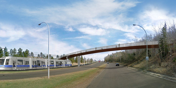 A ground-level rendering showing the new pedestrian bridge which will be built to maintain River Valley access for those needing to cross Connors Road.