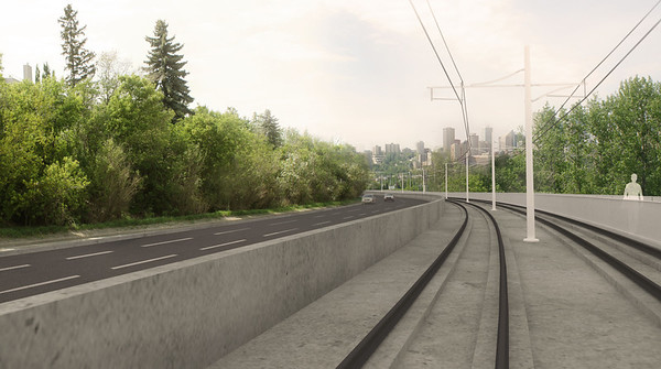 Rendering of the corridor along the side of Connors Road, facing downhill. The guidewalls will separate motorists from the low-floor LRT.