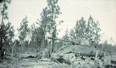 M4A3E8 Sherman Tank with the 78mm gun, near Fort Bragg, North Carolina, USA.  © Robert D. Martin (Circa 1953)