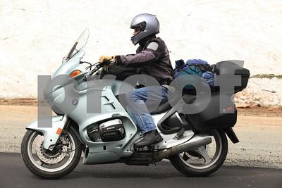 A biker on a BMW R1100RT.