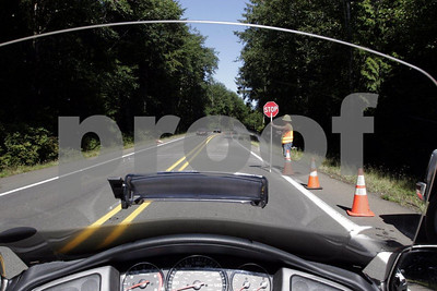 The view from the rider's seat on a 2006 Honda Gold Wing 1800 while stopped for road construction.
