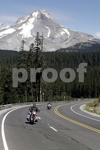 Bikers with Mt. Hood, Oregon in the background.