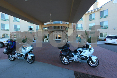 Bikes get special parking spaces at Holiday Inn in Nampa, Idaho.