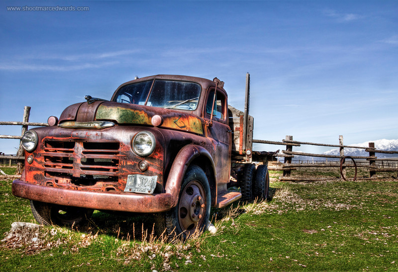 "Image #2<br /> Purchase <a href=""http://goo.gl/muXwK"">http://goo.gl/muXwK</a><br /> <br /> 1943 or so Dodge Half ton dually pickup truck located on Antelope Island at the Garr Ranch, this ""Mater"" was posing for me and begging to be shot in HDR. This image won second place in the New York International Auto Show."