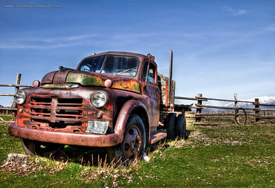"Image #2 Purchase http://goo.gl/muXwK  1943 or so Dodge Half ton dually pickup truck located on Antelope Island at the Garr Ranch, this ""Mater"" was posing for me and begging to be shot in HDR. This image won second place in the New York International Auto Show."