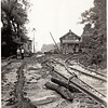 Kings Ferry train station after the flood on Cayuga Lake, looking south 1935. (Photo ID: 28606)
