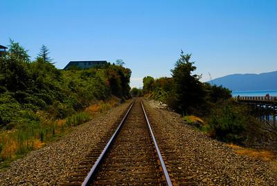 CAPTION: Railroad Tracks LOCATION: Boulevard Park, Bellingham, Washington DATE: 8-12-10 NOTES: I photographed the railroad tracks HEADING: