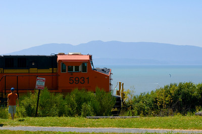 CAPTION: Train Running Beside Park LOCATION: Bellingham, Washington DATE: 7-18-10 NOTES: I photographed this fast moving freight train  HEADING: