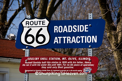 Route 66 Roadside Attraction Sign for Soulsby's Service Station, Mount Olive, Illinois