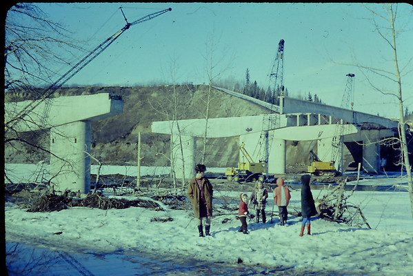 Quesnell Bridge under construction (circa mid-1960's)<br /> <br /> Photo courtesy of Thomas Schaefer, Park Paving Ltd