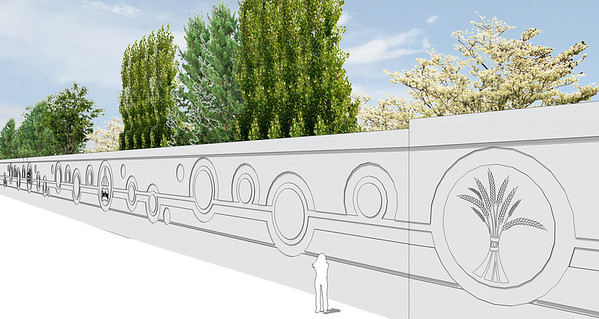 Rendering of CN Barrier Wall. The Fort Trail Historical Foundation received a Community Facility Enhancement Program grant to express historical elements on the wall and in Dwyer Square.
