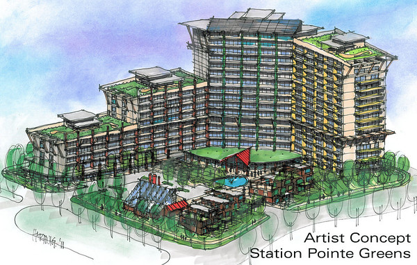 "2011 Artist Rendering of Station Pointe Greens. Station Pointe Greens is being designed as a sustainable, mixed-use development within Station Pointe. For more info:  <a href=""http://www.stationpointegreens.ca"">http://www.stationpointegreens.ca</a>"