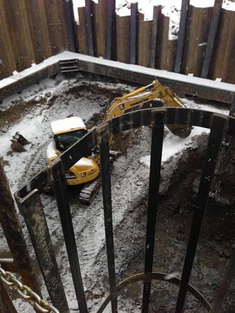 Southeast thrust block excavation, November 2013.