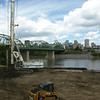 Drilling along river bank, August 2013.