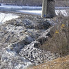 "North side: rock ""riprap"" (used to prevent erosion), February 2013."