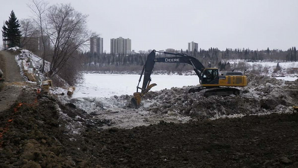 North side: removing ice and snow, February 2013.