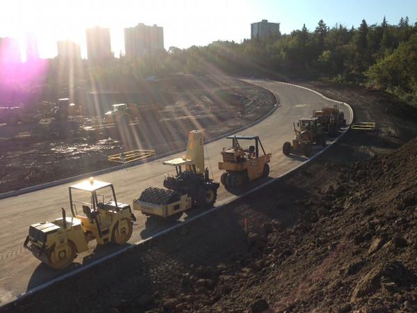 Repaving of the Queen Elizabeth Park Road, September 2013.