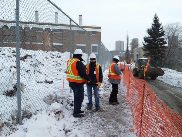 North side: crews on site for access road construction, January 2013.