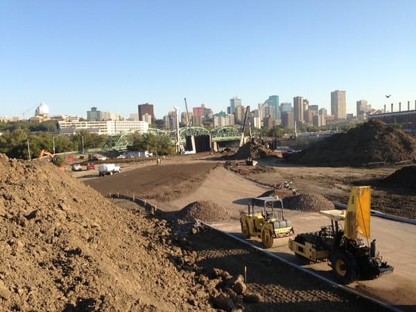 Paving the new Queen Elizabeth Park Road alignment, September 2013.