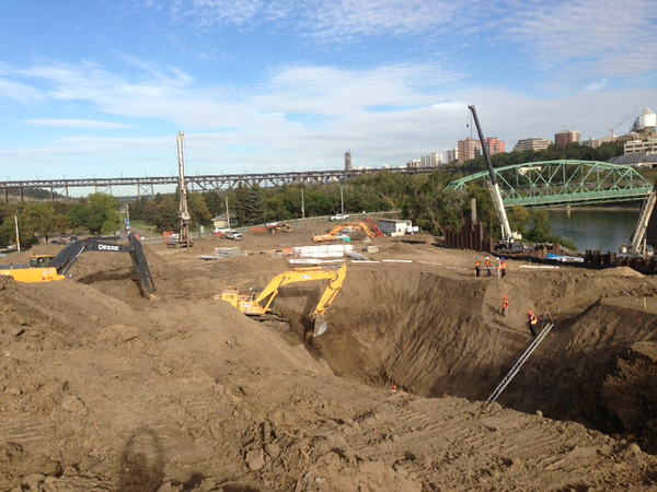 The excavation on the south side of the river, September 2013.