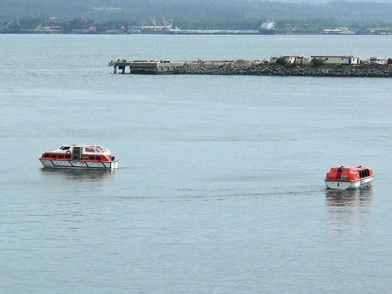 Carnival Spirit lifeboat practice.