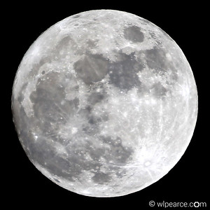 Full moon from Los Alamos, NM  12/24/2015.  A rare Christmas Eve full moon.  The high (7500') cold (25) clear night offered an exceptionally undistorted view of the moon.