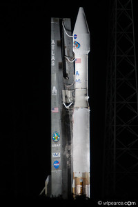 Atlas 5 booster with Centaur upper stage loaded with a couple of satellites, ready to launch.  This view from inside the BDA (Blast Damage Area) after launch was scrubbed for technical reasons.
