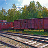 Old snow plow train on siding in Bartlett, NH September 2010<br /> Color Efex Pro