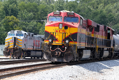 Kansas City Southern de Mexico #4605 and 4705 in the yard, Jackson, MS