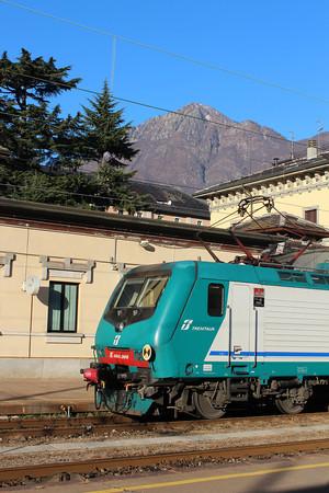 Italy, Trenitalia Train with Italian Alps Background