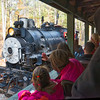 New Hope Valley Railroad Steam Locomotive Passes Passenger cars at siding