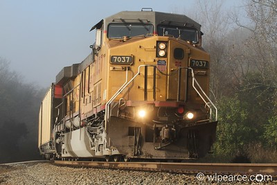 Out of the Morning Mist.  Union Pacific  7037.  Notes Here.