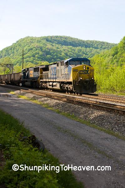 CSX Coal Train Running Through Historic Thurmond, West Virginia