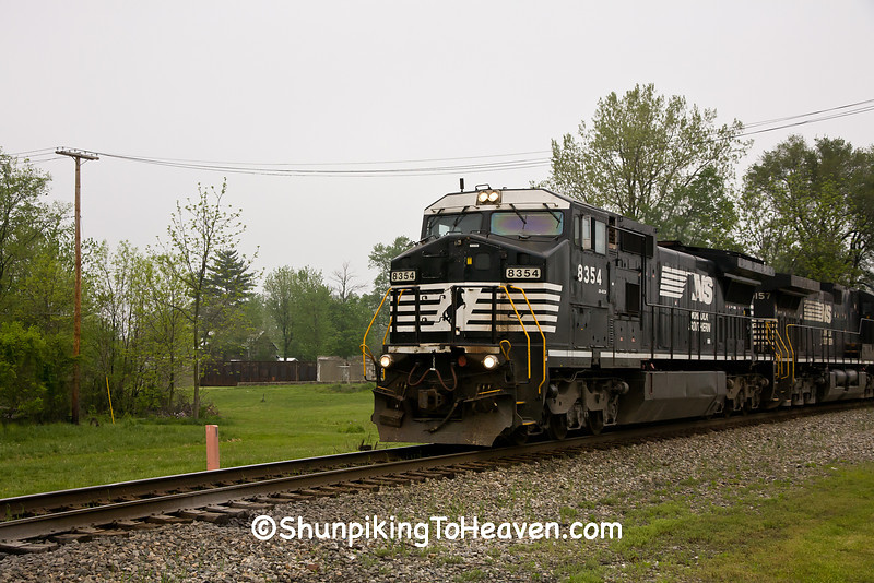 Locomotive passing Toledo & Ohio Central Depot, Crawford County, Ohio
