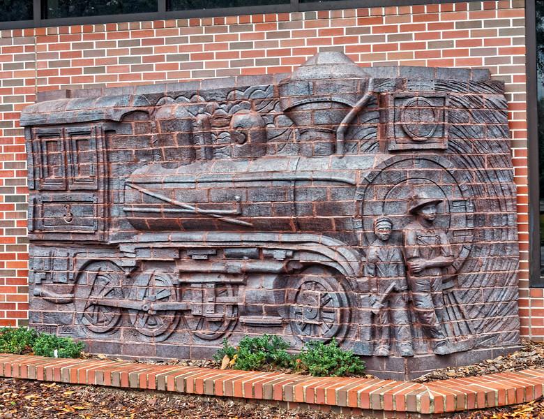 Locomotive sculpture on Lutz  Library
