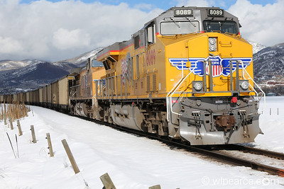 Union Pacific 8089 Coal Pusher (lights not on). Steamboat Springs, CO.  February.