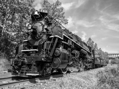 Steam Engine No. 765 in Black & White