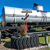 Railroad Direction Sign and Navy Tank Car
