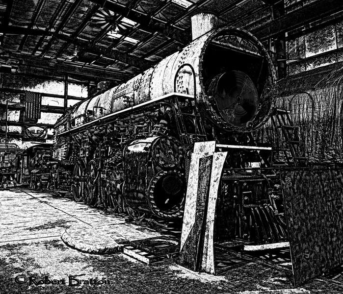 Black & White Etching of Engine Under Renovation
