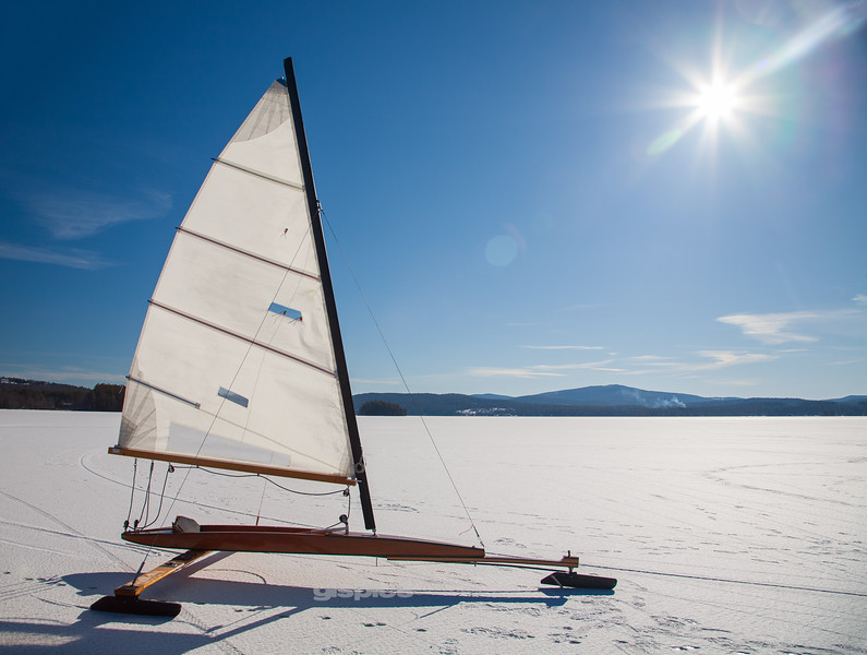 Ice Boat on a Frozen Lake