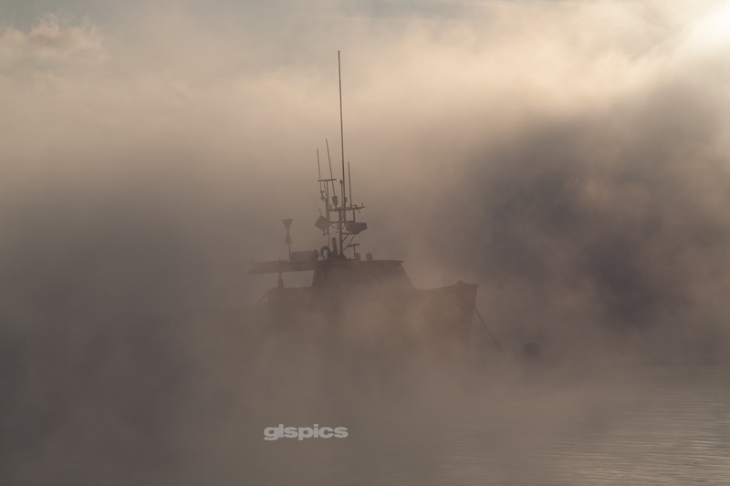 Lobster Boat in the Sea Smoke